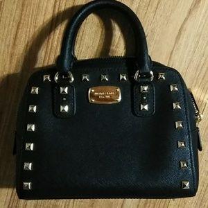 Michael kors black saffiano mini studed satchel